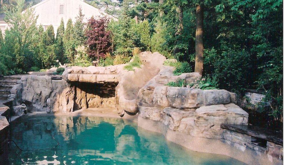 Pool and artificial rock oasis