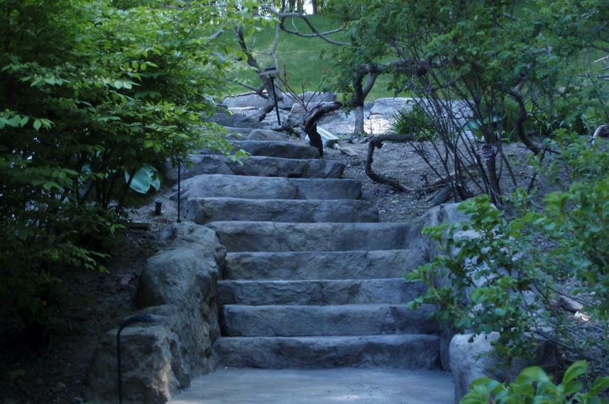 faux rock steps