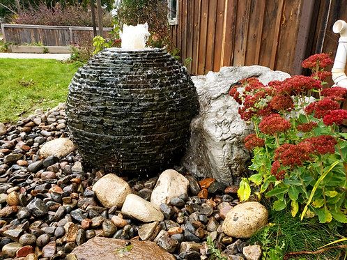 Medium stacked slate sphere fountain kit