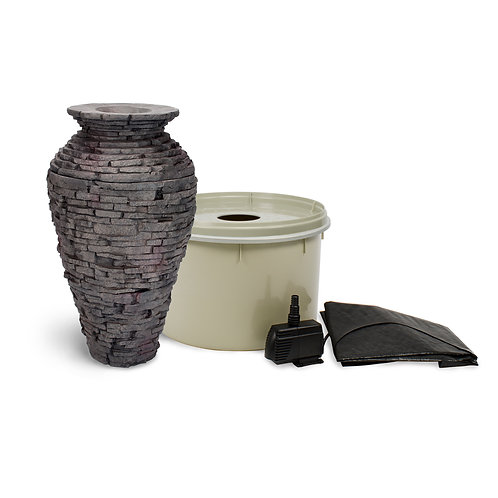 Small stacked Slate Urn Fountain Kit
