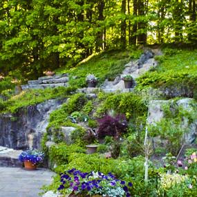 Retaining walls and Pondless waterfall