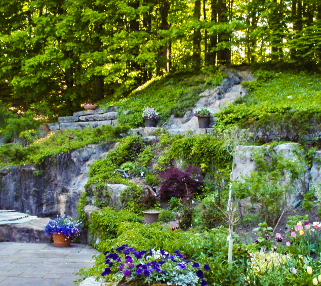 Retaining walls and Pondless waterfall