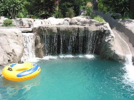 residential waterfall, concrete slide