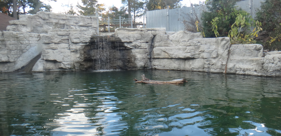 Front view of the limestone waterfall