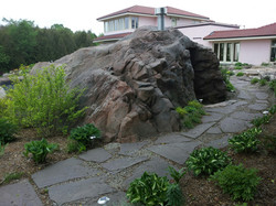 Artificial rock pump house