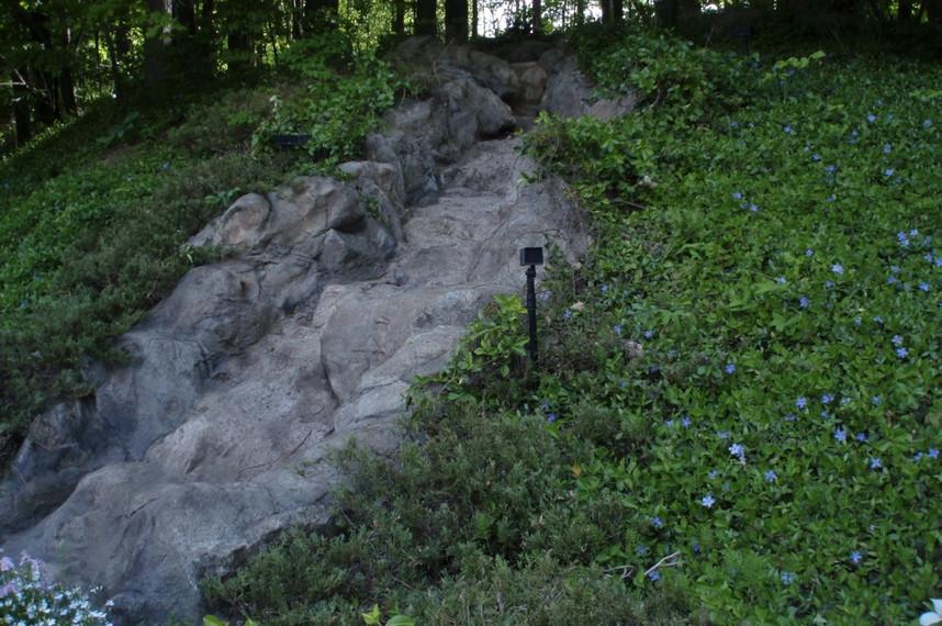 natural planting and waterfall