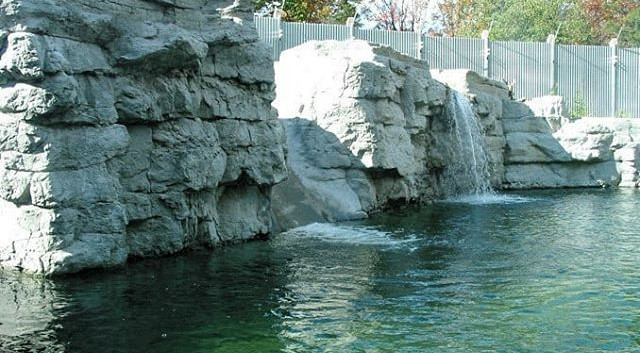 Waterfall, waterslide, rock steps and a