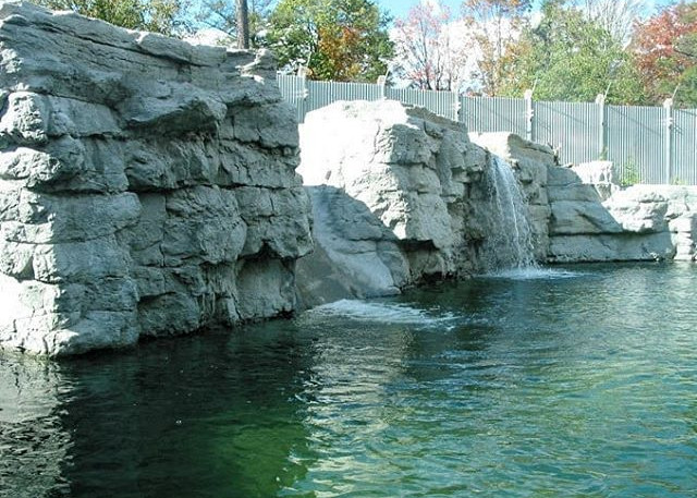 Waterfall, waterslide, rock steps and a