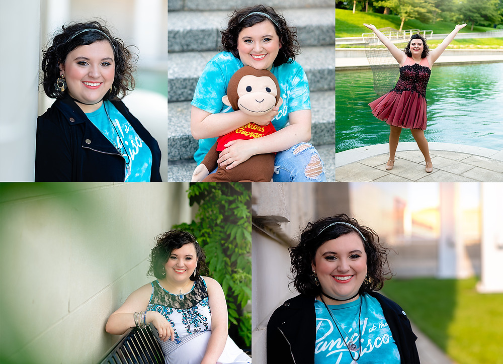 Downtown Indianapolis senior portrait session at canal singer choir panic at disco curious george.