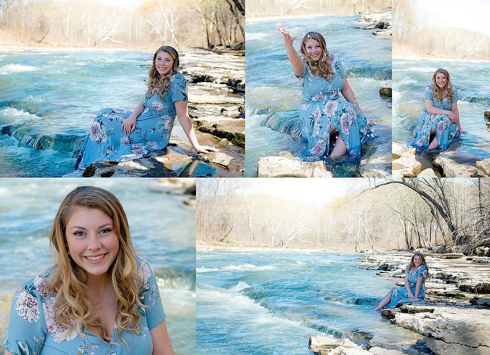 senior session waterfalls water summer indiana portrait top senior photographer