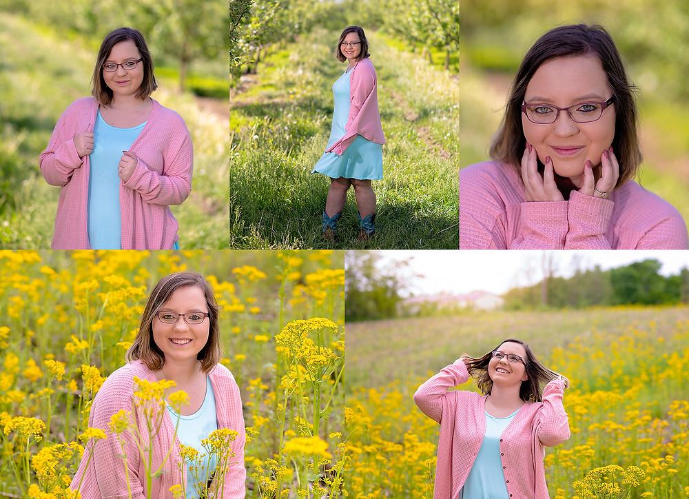 Appleworks Trafalgar Indian Creek High School Portraits Photographer Indiana Fields Orchard Spring