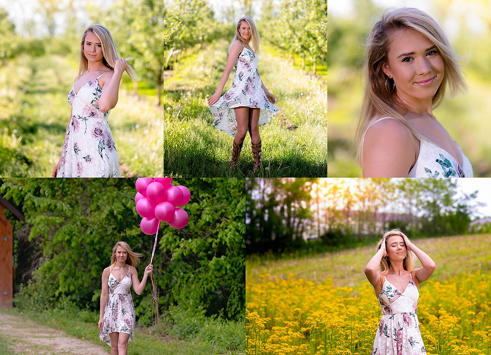 senior session at apple orchard in indiana appleworks with balloons and field flowers in the spring.