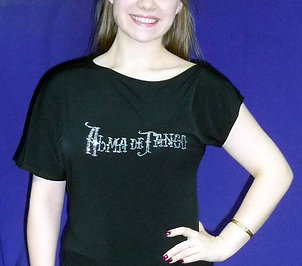 Asymmetric off shoulder T-shirt with diamont Alma de Tango School logo