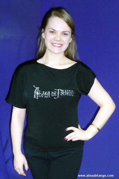 Asymmetric off shoulder T-shirt with diamont Alma de Tango School logo