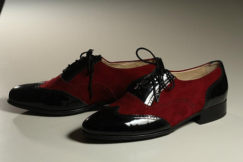 MEN Shoe Combo Red Suede with Black Shining Leather.