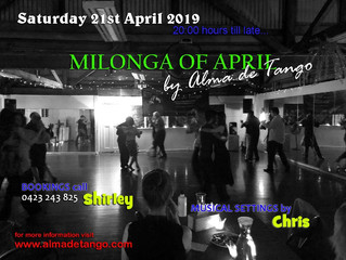 OUR MILONGA OF APRIL IS ON THIS SATURDAY
