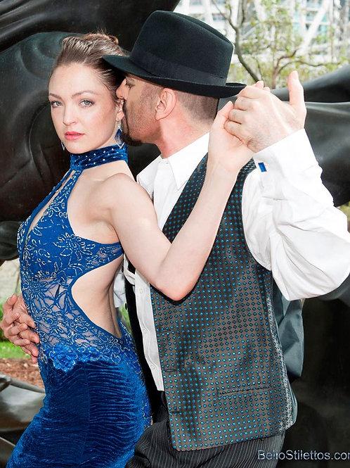 Sky blue velvet cross back strap dress with front & back splits