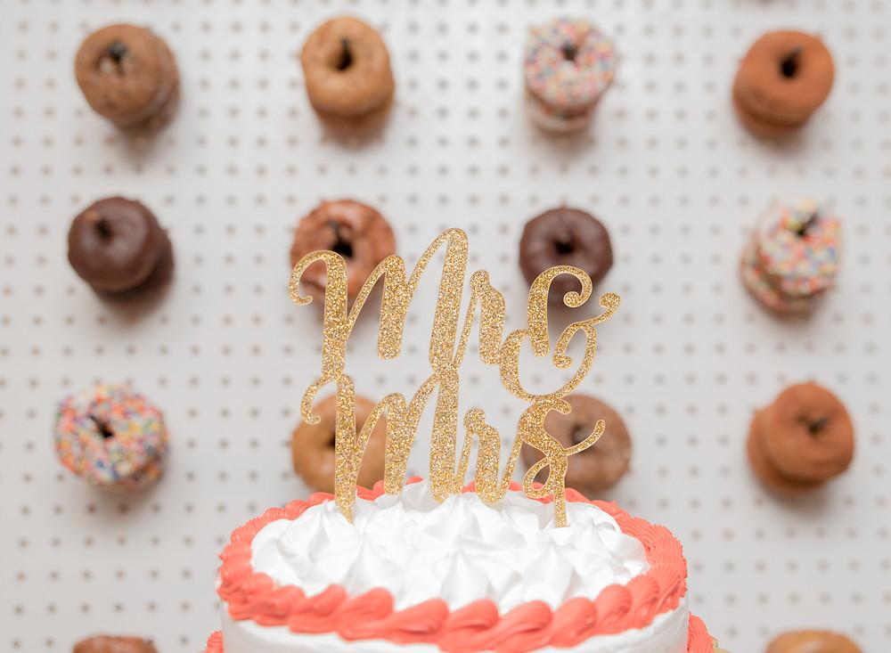 Wedding cake with Bills Donut wall