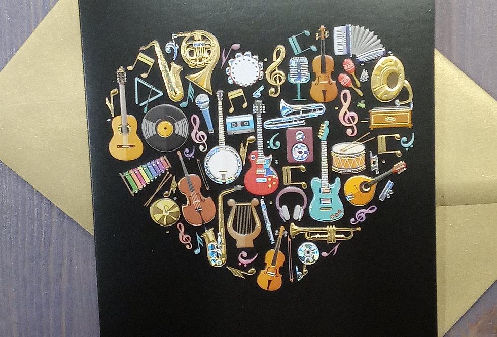 Musical Instrument Heart Card