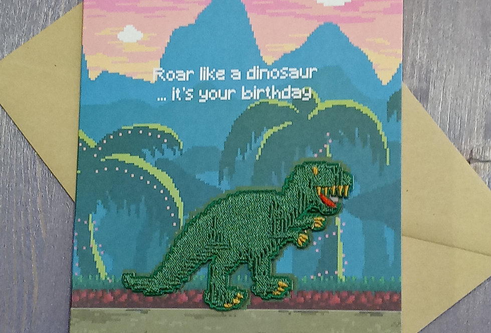 Dinosaur Birthday Card with Patch