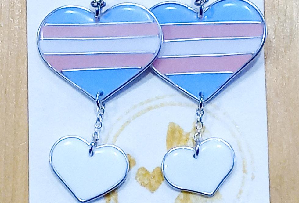 Trans Heart Earrings