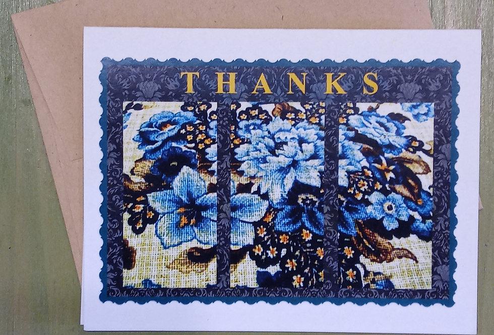 Thanks - Blue Flowers Card