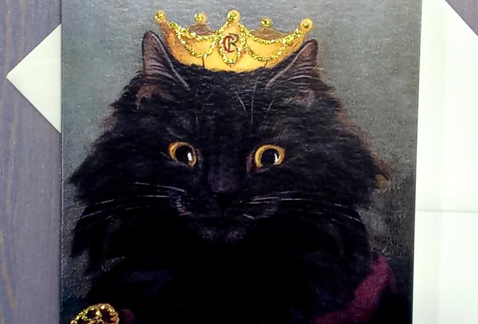 King Puss Happy Birthday Card