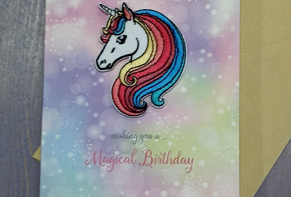 Unicorn Birthday Card with Patch