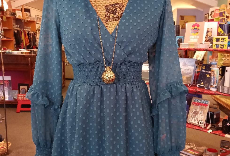 Blue Gathered Waist Dress