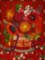 Red flowers julie read painting