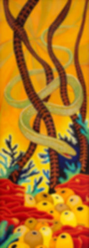 Eyesore Eel art by Julie Read acrylic on wood