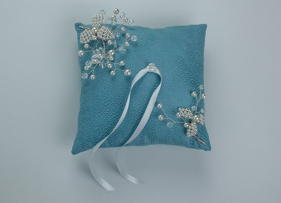 Blue silk and lace wedding ring pillow with pearl and crystal wire branches.