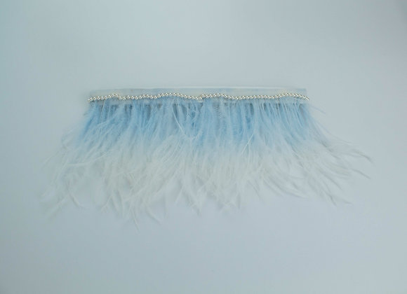 Ombre pastel blue and white ostrich feather wedding garter embellished with a line of pearls on top.
