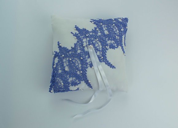 White silk and purple lavender shaped lace wedding ring pillow decorated with small white pearls on top