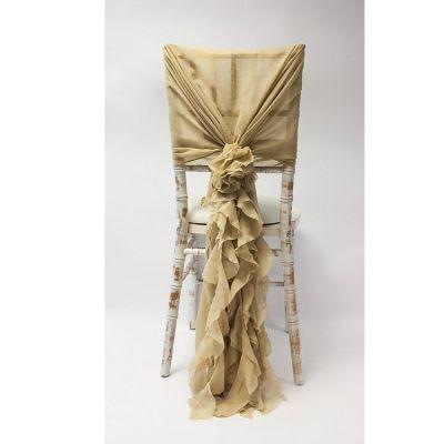 Chiffon Hood With Ruffles - Antique Gold