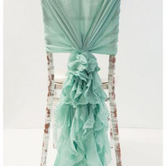 Chiffon Hood With Ruffles - Tiffany Blue