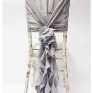 Chiffon Hood With Ruffles - Dark Silver.