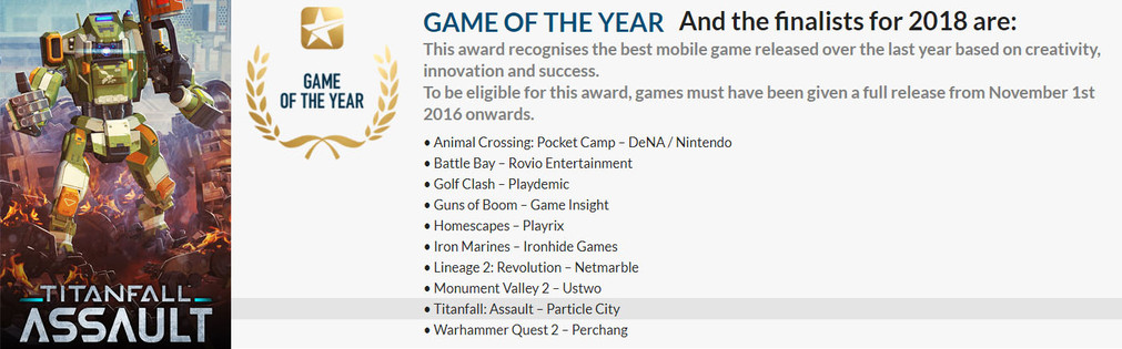 Titanfall: Assault has been nominated for Mobile Game Of The Year!