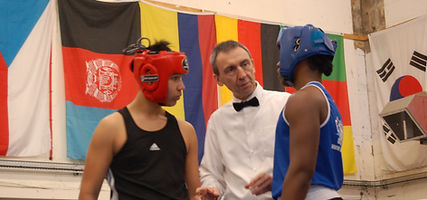 Refs talk to visiting boxers.JPG