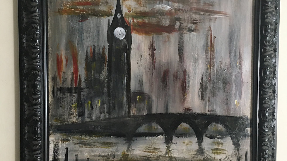 London in the Lockdown, with Heroic Buses, original acrylic 33x33 inches
