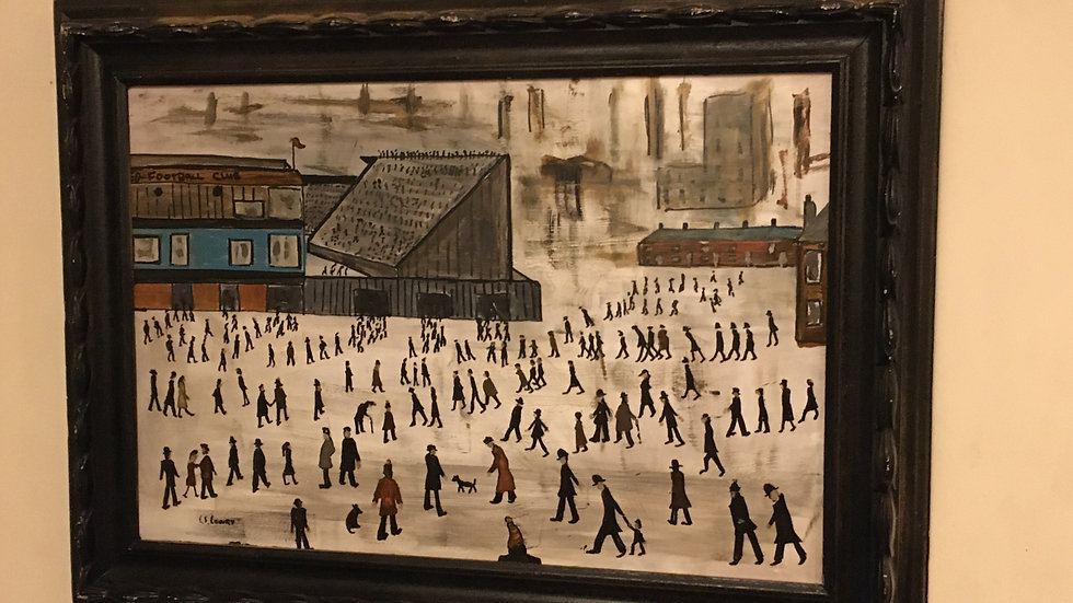 """Original Acrylic after Lowry's Going to the Match, approx 31x21"""""""