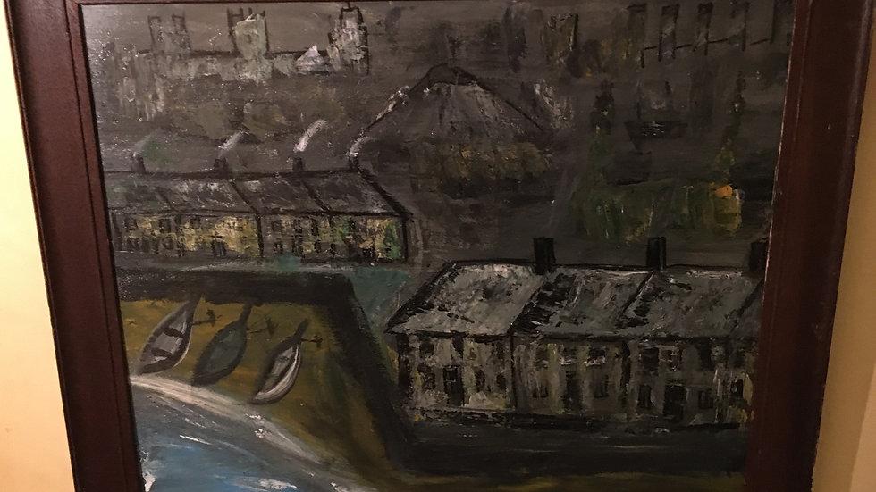 "Fishermen's houses in acrylic by Lockyer Alsop 29x24"""