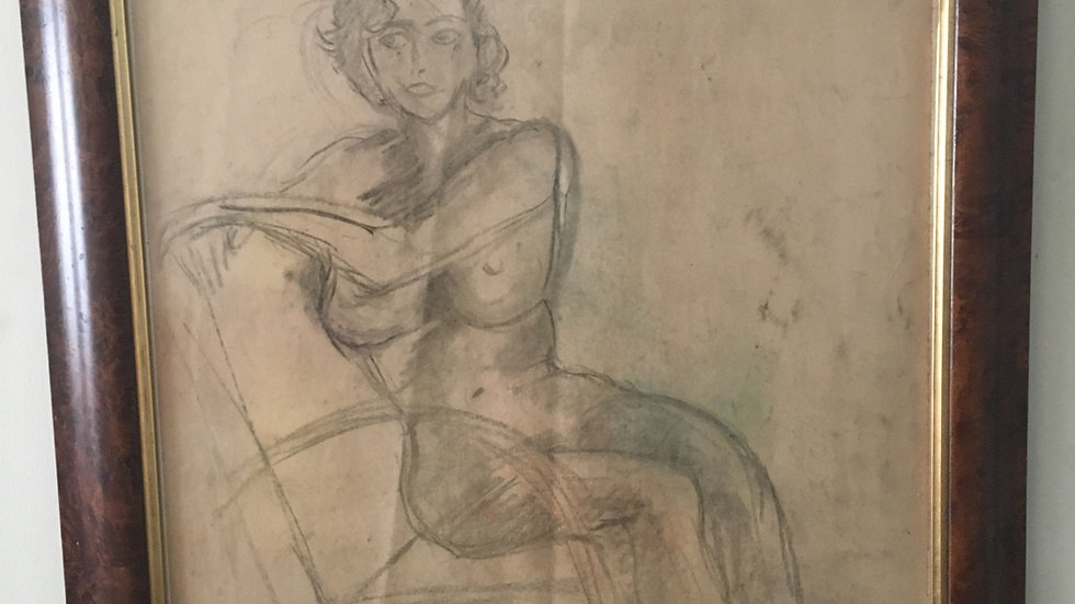 Nude original charcoal sketch dated 1955 in Art Deco style, 35 x31 inches.