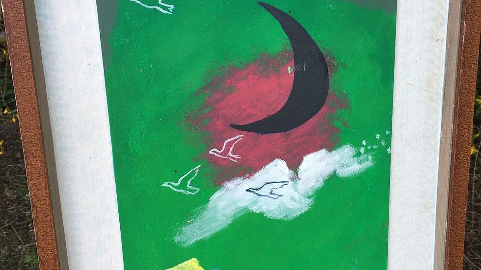 "Original Surrealist Acrylic ""Dream of a Dark Moon"" by Tate artist Philip Hicks"
