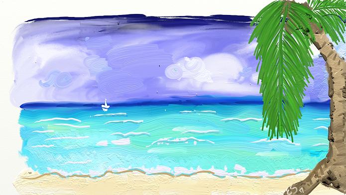 Sea Beach Island Palm tree