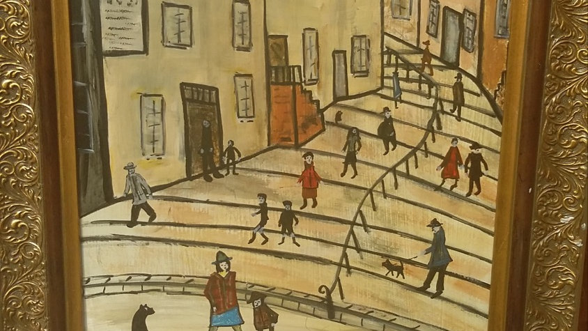 Street Scene after Lowry, Original Acrylic on board, 45x55cms