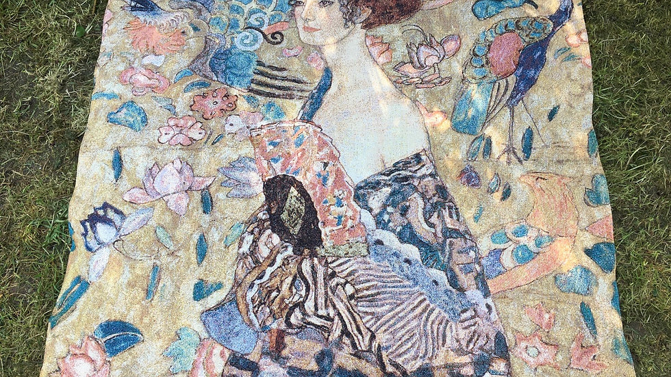 Beautiful large tapestry of Gustav Klimt Lady With a Fan 40x37 inches