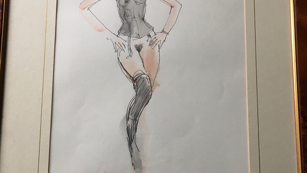 Peter Collins sketch in lingerie