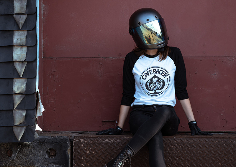 """Cafe Racer """"Ace of Cafes"""" motorcycle baseball tee by Great Lake Supply Co. Milwaukee"""