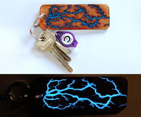 Glow-In-The-Dark Personalized Lichtenberg Keychain: Path of Least Resistance